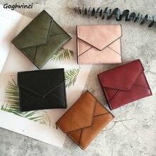 Carteras plegable liso Simple Mini bolso de cuero bolsas de dinero monedero ocio PU tarjetero de cuero moda de estilo coreano Ulzzang