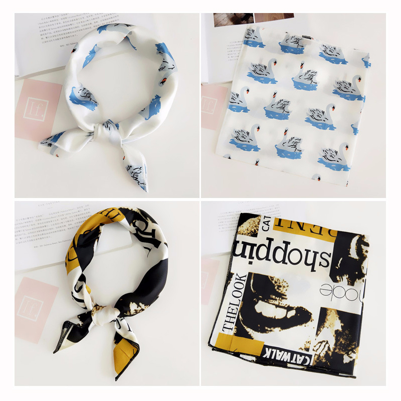 50*50cm Fashion Lady Swing Square Scarf Small Silk Satin Tie Neck Ring Scarf Winter Head Scarf Women Neckerchief Headband Gift