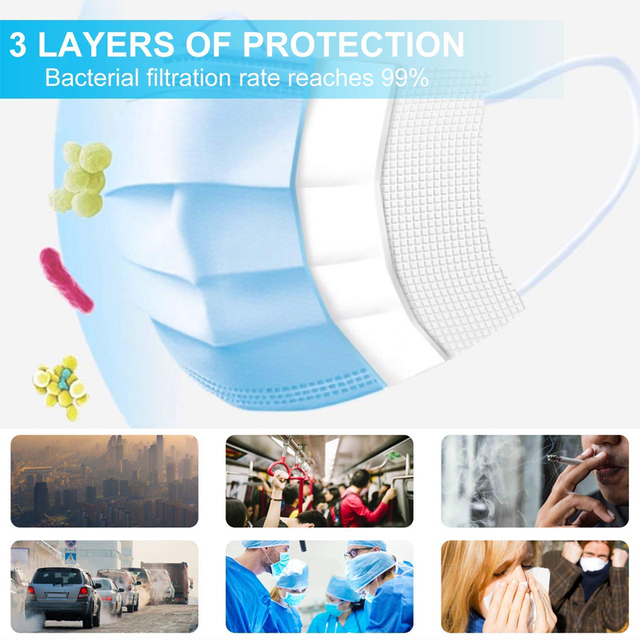 10/50Pcs Disposable Masks Anti Droplet Anti-flu 3-Layer Filter Safety Face Mask Proof Dustproof Protective Hygiene Mouth Maska