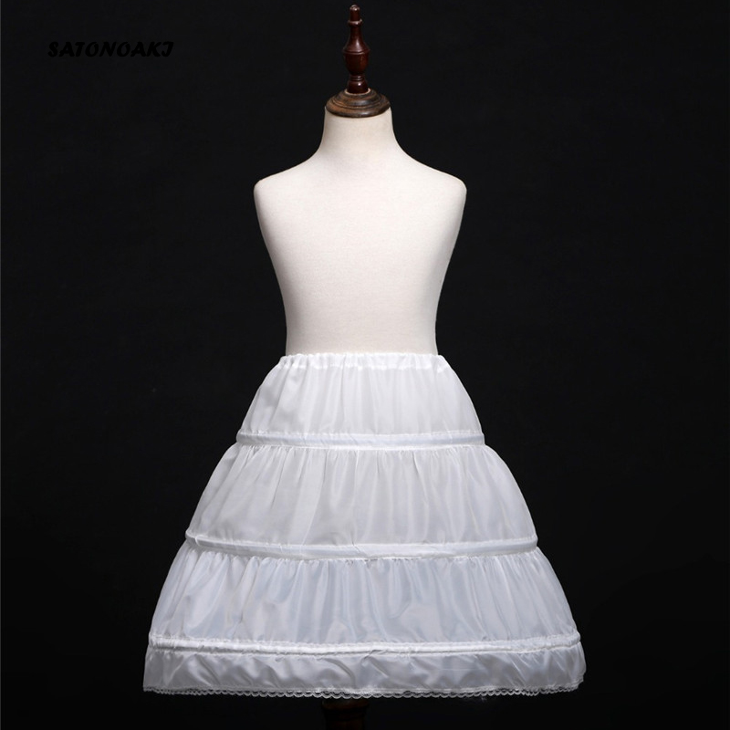 SATONOAKI White Children Petticoat A-Line 3 Hoops One Layer Kids Crinoline Lace Trim Flower Girl Dress Underskirt Elastic Waist