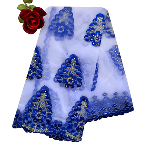 Image 1 - New African Women Scarf Good Quality Plain Embroidery with Stones Soft Net Scarf for Headscarf Wraps BM955