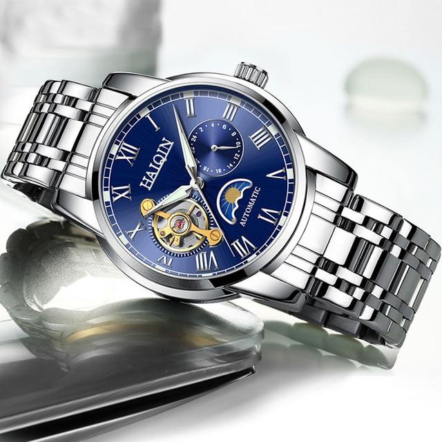 2019 nova marca de luxo relógio de aço masculino relógio de negócios relógio lua reloj hombre 1