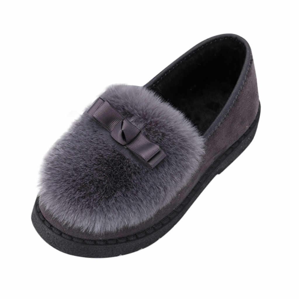 Zachte Vacht plus Boog Warme Schoenen Vrouwen Mode Platte Hak Ronde Hoofd Peas Schoenen Winter Katoen slippers Warmer Wandelen Sneeuw laarzen 2019