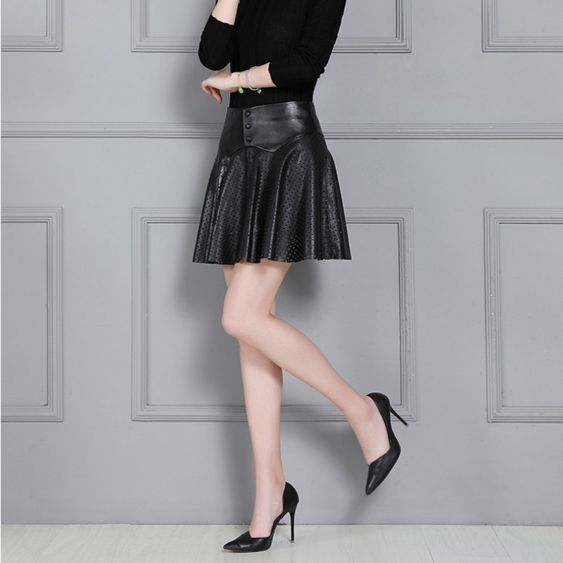 Genuine Leather Pleated Mini Skirts Womens Plus Size 4XL Black Sheepskin Hollow Out A-Line Skirt Luxury High Waist Office Skirt