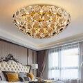 Luces de techo de cristal de lujo de estar de moda accesorios de dormitorio puede cambiable lámpara de techo led redonda de oro de iluminación interior