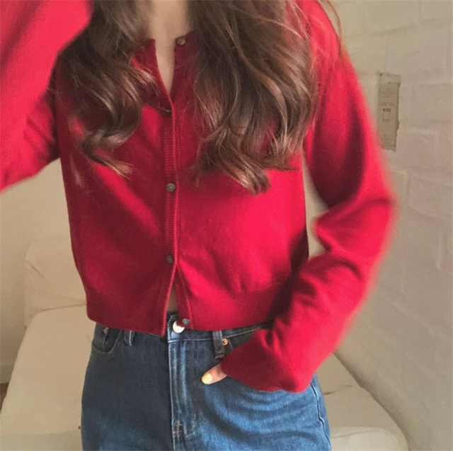 Ailegogo Autumn Winter Women Knitted Sweater Cardigans Single Breated Short Ladies Crop Tops SW7169 4