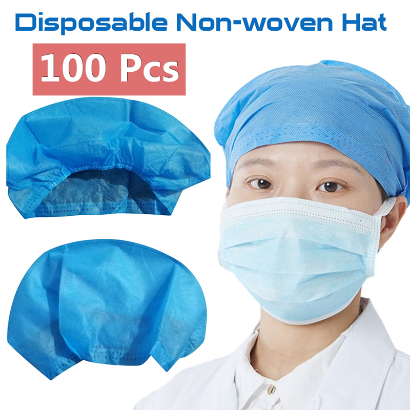 100 Pcs Disposable Non-woven Hat Medical Surgical Hat Dust-proof Sterile Headgear Hood Round Cap For Hospital/laboratory/Kitchen