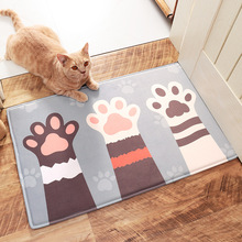 Cat's claw fish three cats pattern soft room floor mat eco-friendly living room carpet kitchen mat
