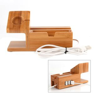 Image 3 - Bamboo Charging Charger Station Dock Stand Holder With 3 Usb Hub Port Cable For Apple Watch  Iphone 8 X 7 6 6S Plus