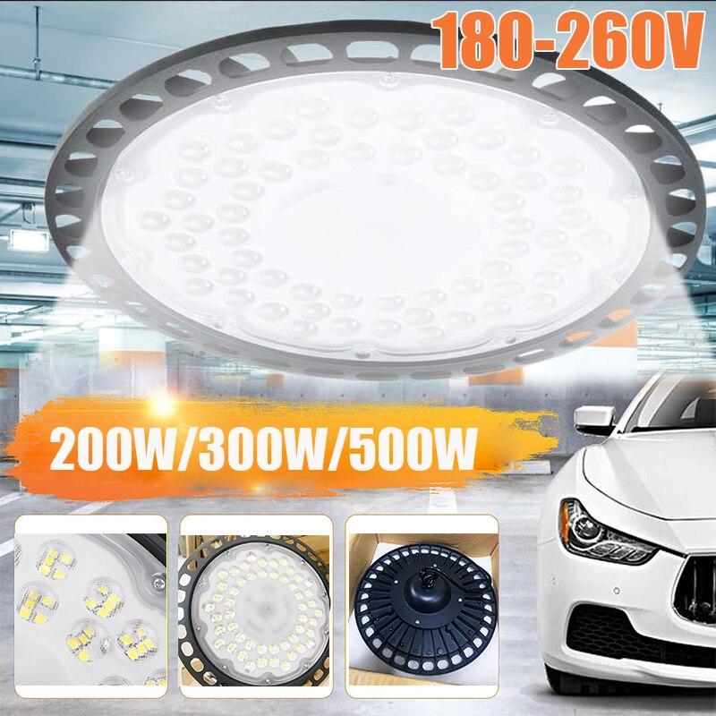 200/300/500W LED Garage Light 180-260V IP65 UFO Industrial Lighting Warehouse Led High Bay Ceiling Light For Home Workshop Lamp