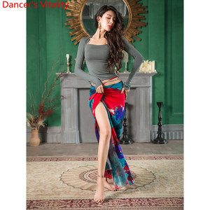 Image 4 - בטן ריקוד ללבוש Slim Fit נשים סתיו חדש 3 צבע למעלה מודאלי ארוך חצאית מזרחי הודי ריקוד תרגול קבוצתי אימון בגדים