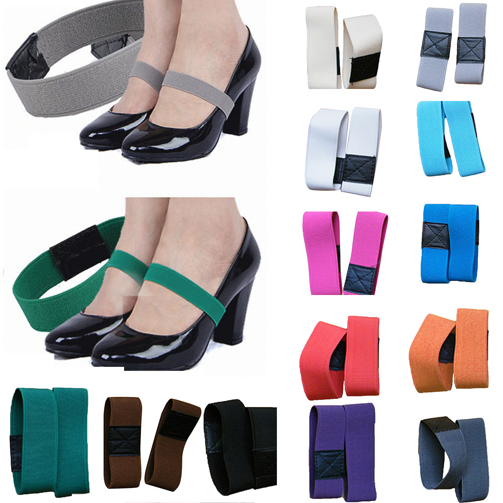 1 Pair Colored Elastic Band Shoe Strap Solid Color Shoelace For High Heel Strap Women Shoes Sneakers Strings Anti-loose Strap