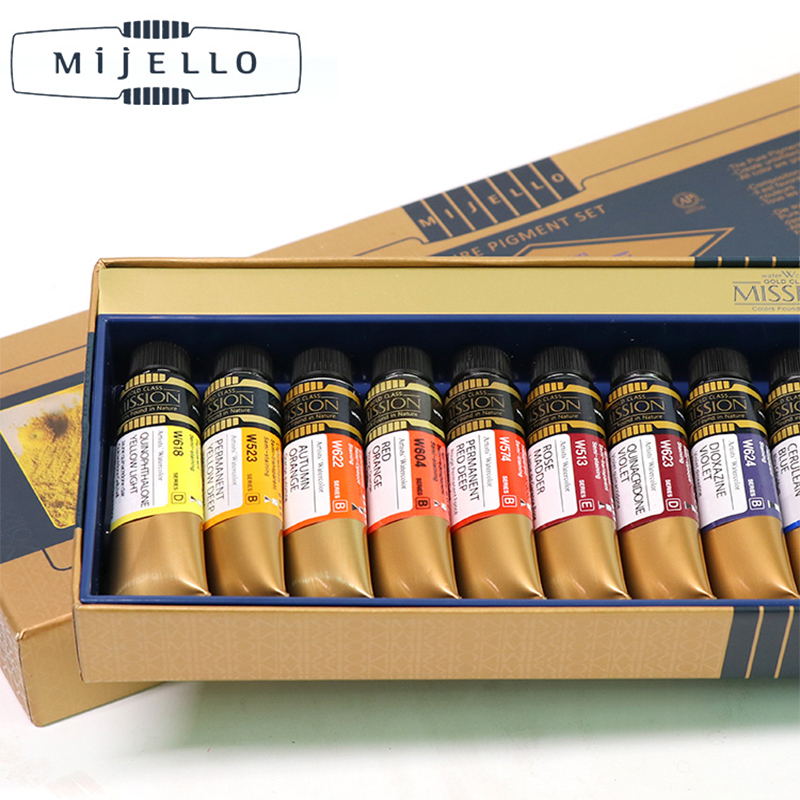 Korea Mijello Top MISSION Watercolor Paint Gold Master Class High Concentrations Nature Pigment Artist Watercolour Aquarela