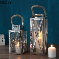 Stainless Steel Wind Lamp Candlestick Metal Glass Candle Holder Outdoor Wedding Centerpieces Candle Lantern Crystal Candelabra