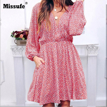 Missufe Dress Womens Floral Printed V-neck Long Sleeve Dress Ladies 2109 Autumn Beach Casual Mini Dress Women Plus Size 2XL floral printed bell sleeve mini dress