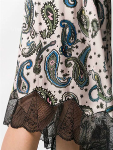 Image 4 - Women Skirt Vintage Print Stitching Asymmertrical Lace Elastic Waist Midi Skirt