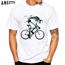 Hip Hop Vintage divertido desgastado es una camiseta de moda de verano para hombre Camiseta Cool Old Bicycle And Skull diseño Punk superior chico camisetas blancas