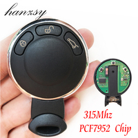 3 Buttons Car Smart Key For BMW MiNi Cooper with ID46 Chip PCF7952 /315Mhz Replaceable Auto Remote Key Fob shell & Uncut blade