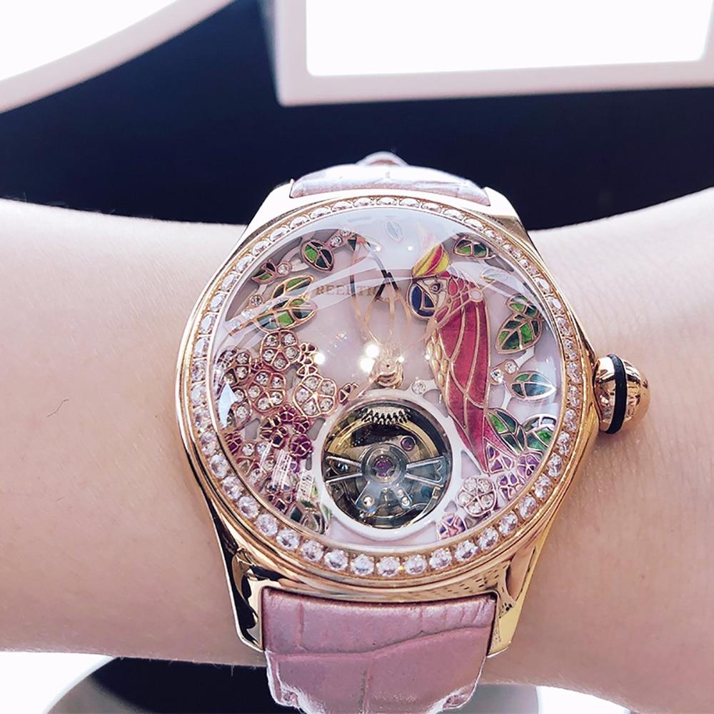 2020 Reef Tiger/RT Womens Luxury Fashion Watches Diamond Automatic Tourbillon Watch Leather Strap Watch Relogio Feminino RGA7105