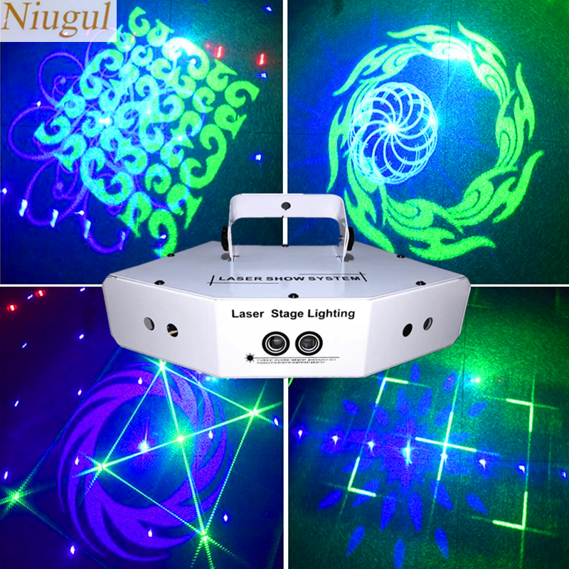 6 Lens RGB Beam 16 Patterns Laser Scanner Light Home Party DJ Stage Lighting KTV Show Sector Laser DMX512 Image Lines Scan Light