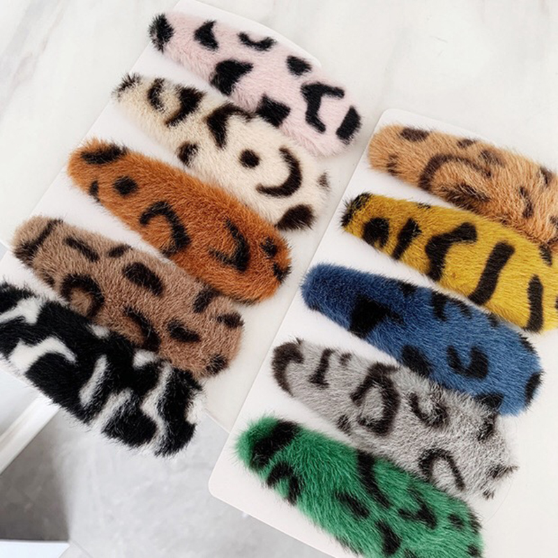 1 PC Fashion Women Vintage Leopard Plush Hair Clip Hair Band Barrette Hairpin Accessories Beauty Styling Tools Barrette Clip