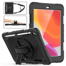 For iPad 7 7th 8 8th Gen Case 360 Rotating Stand Hand Strap Pencil Holder Cover for iPad 10.2 2020 Funda Protective Case + Strap