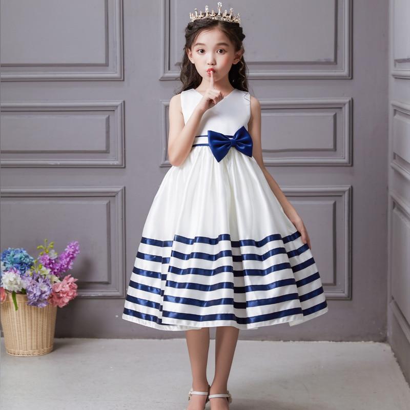 Kelly's Girls' Long Skirt Stripes Hem Satin Dress Middle And Large Flower Boys/Flower Girls Performance Wear Bow Dress