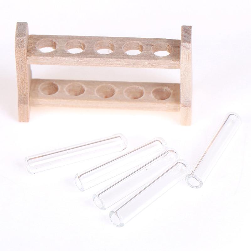 5PCS Glass Test Tube w// Wood Rack Set Miniature Laboratory 1:12 Dollhouse Decor