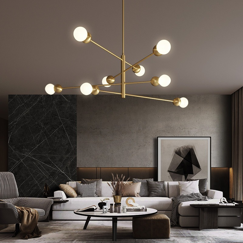 Modern Luxury Led Chandeliers Lighting Living Room Bedroom Ceiling Chandelier Lamp Loft Copper Chandeliers Light Indoor Lighting