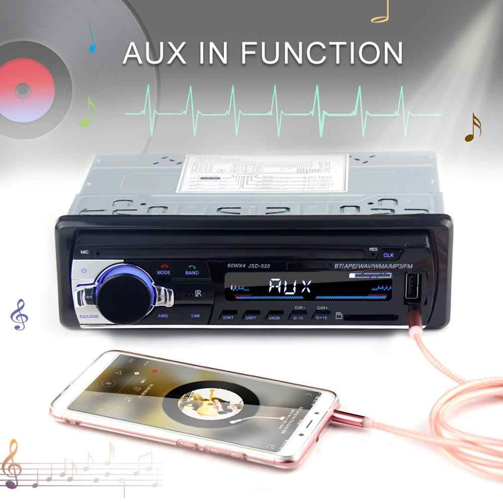 Radio para coche jsd 520 12V Bluetooth estéreo para coche en-dash 1 Din FM Entrada auxiliar soporte Mp3/ MP4 USB MMC WMA en AUX TF auto reproductor de audio