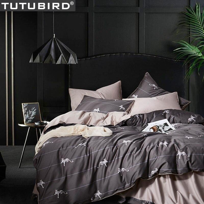 Gris drap de lit en coton Égyptien Satin ensemble de literie enfants léopard dessin animé literie 4 pièces reine Roi taies d'oreiller