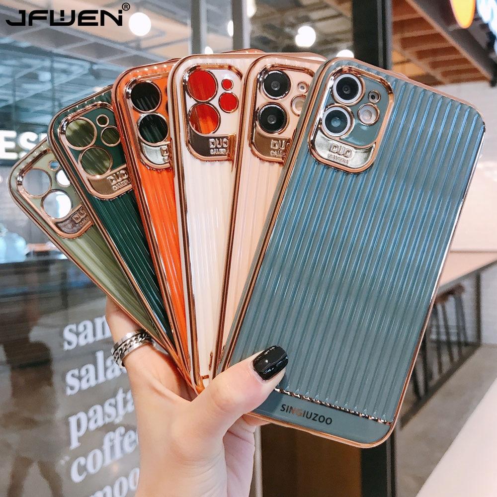 Защитный чехол с золотым покрытием для iphone 11 Pro XR XS Max X 8 7 Plus SE 2020, силиконовый однотонный чехол в полоску Специальные чехлы      АлиЭкспресс