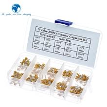 300 шт. 10 Значение с алюминиевой крышкой, 50В 10pf 20pf 30pf 47pf 56pf 68pf 100pf 1nf 10nf 100nf Многослойные Керамика набор различных конденсаторов