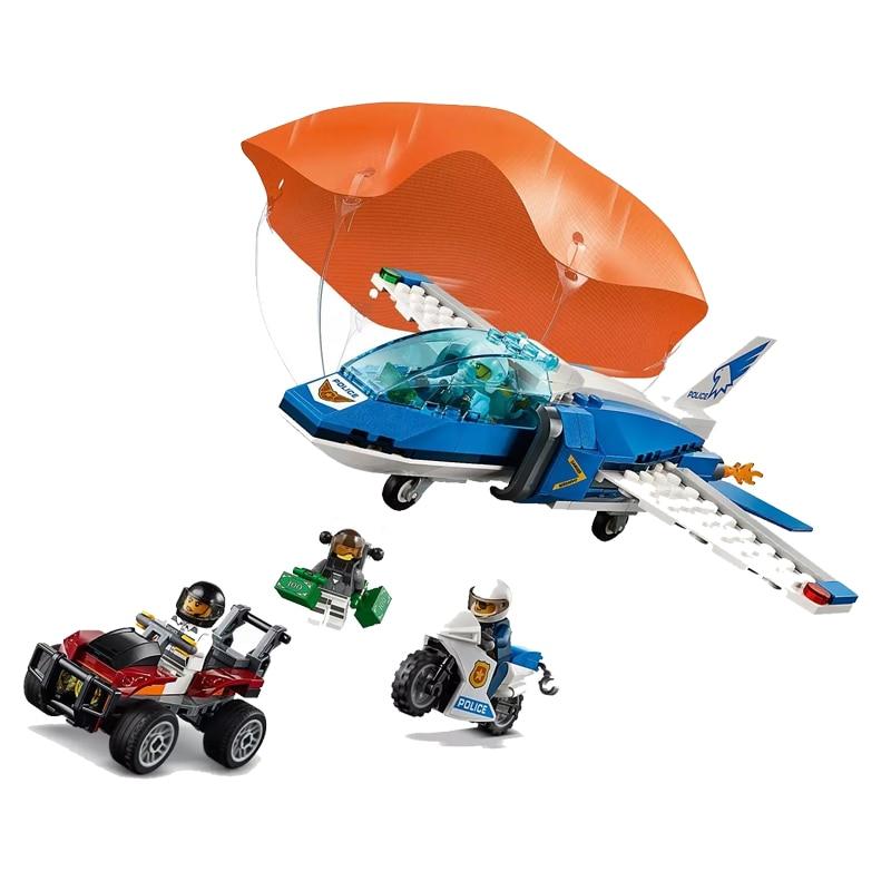 New 245pcs City Bricks Sky Police Parachute Arrest Compatible Legoingly City 60208 Building Blocks For Children Christmas Gift
