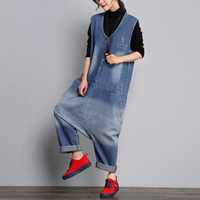 Denim Sleeveless Jumpsuits Women Baggy Plus Size V Neck Long Playsuit Loose Oversized Jean Overalls Low Crotch Cowboy Rompers