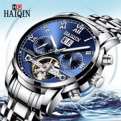 2019 Top marka luksusowe HAIQIN męskie zegarki mechaniczny zegarek człowiek zegar automatyczny zegarek mężczyźni wodoodporny Tourbillon Relogio Masculino