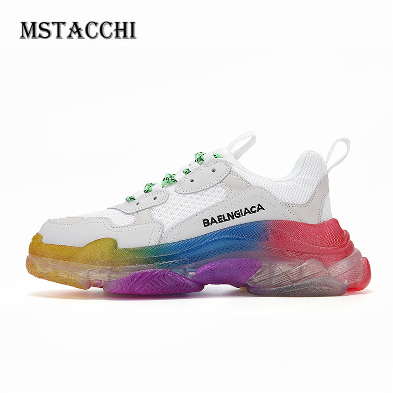 MStacchi Fashion Mesh Breathable Women Men Sneakers Comfortable Flat Platform Lace-Up Couples Shoes Outdoor Air Cushion Footwear