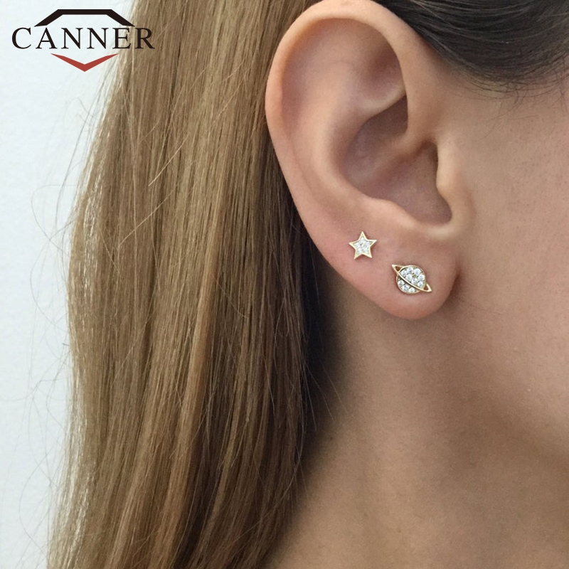 Simple Fashion 925 Sterling Silver Star Moon Stud Earrings for Women Gold Silver color Earrings Fashion jewelry Drop Shipping