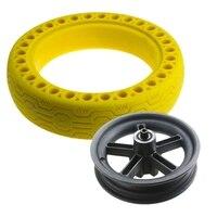 1 pces 8.5 Polegada de borracha do favo de mel pneu sólido sem câmara 8 1/2 para xiaomi m365 scooter elétrico pneu sólido com contorno amarelo|Peças e acessórios p/ scooter| |  -