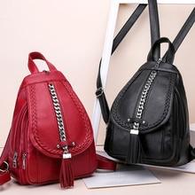 Kadın sırt çantası tasarımcı yüksek kaliteli deri kadın çantası moda okul çantaları kız kırmızı sırt çantası püskül çok fonksiyonlu çanta su geçirmez
