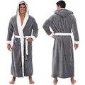 Мужской зимний халат размера плюс из кораллового флиса, кимоно, теплые фланелевые банные мужские халаты, мужские уютные халаты, Ночная одеж...