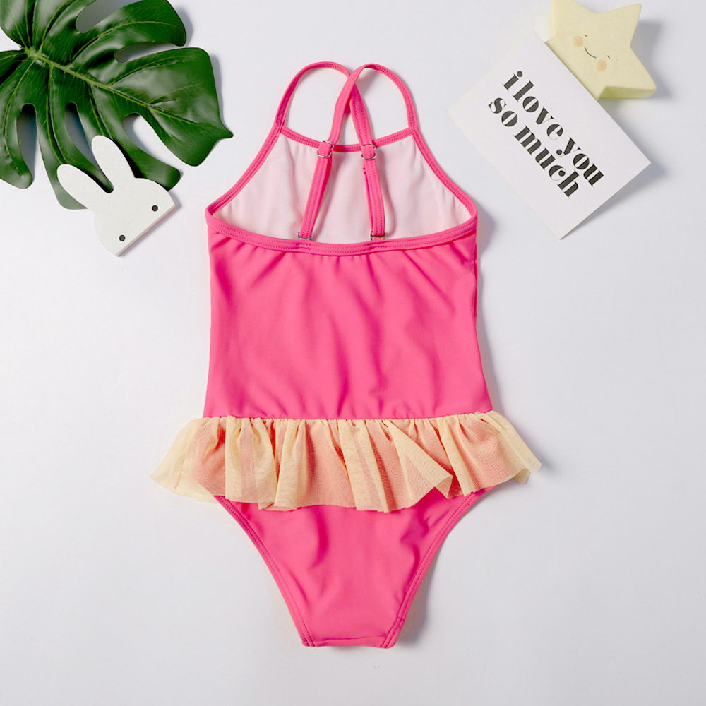 2019 Europe And America New Style One-piece Swimming Suit Small Flower Embroidered Unicorn Sweet Cute Flounced Girls KID'S Swimw