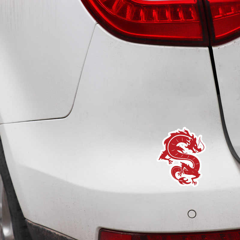 Volkrays ファッション車のステッカー赤中国風ドラゴンアクセサリー反射防水カバー傷 Pvc デカール、 12 センチメートル * 10 センチメートル