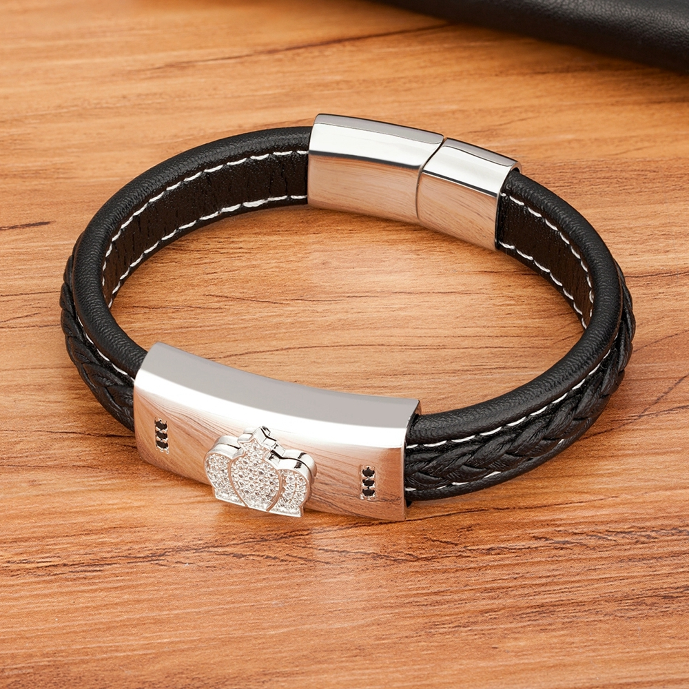Leather And Stainless Steel Luxury Crown Men's Bracelet Bangles & Bracelets