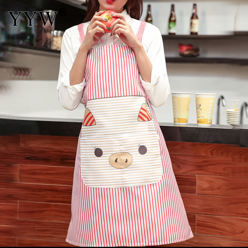 Cartoon Pig Kitchen Apron For Hairdresser Aprons For Woman Cooking Apron Peva Antifouling Waterproof Aprons Delantal Avent in Aprons from Home Garden