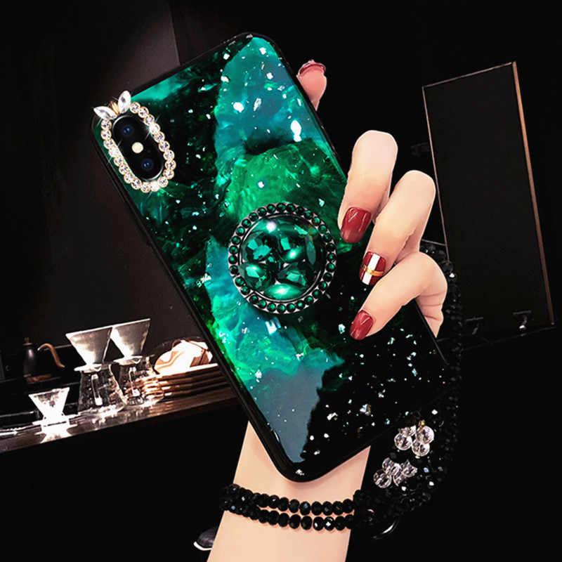 สีเขียว Emerald Marble รูปแบบแหวนเพชรเงาซิลิโคนสำหรับ Huawei P30 P20 Pro Nova 4 Nova 3 Lite 3i 2S Nova 2 Plus