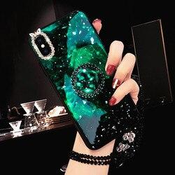 Coque de téléphone pour Huawei Mate 20 Pro Mate10 Pro Honor 10 9 8 8X V9 V10 vert émeraude marbre motif diamant bague couverture brillante