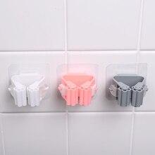 Водонепроницаемый подвесной зажим для швабры, крючок, самоклеющийся зажим для швабры, Пряжка для хранения в ванной комнате, органайзер, настенное крепление, пластиковая стойка для швабры