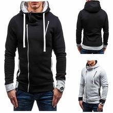 Fashion Men Hoodies Street Wear Diagonal Zipper Slim Hooded Sweatshirt Mens Tracksuit Sportswear Streetwear Brand Clothing