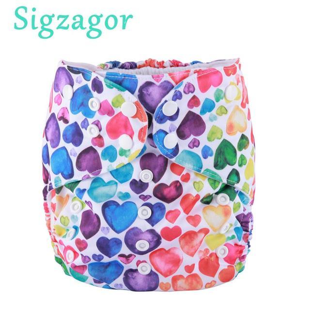 [Sigzagor]3個2に7歳ビッグ布おむつ、おむつ、ポケット、再利用可能なウォッシャブル、マイクロフリースインナー、ベビーキッズ幼児ジュニア